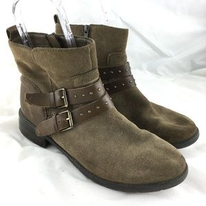 Clarks Swansea booties taupe suede studded strap